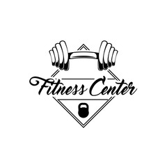 Barbell weights. Gym barbell. Fitness center logo label. Vector.