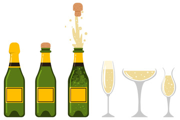 Champagne bottle is closed, open, an explosion of cork and glasses of different shapes. Vector flat icons set of party and holiday designs isolated on white background.