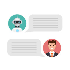 Chatting with Chat bot concept.  Support service Robot icon. Vector illustration in flat style.
