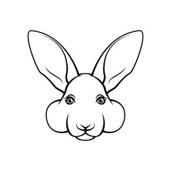 Easter bunny face. Easter rabbin. Bunny muzzle. Easter greeting card design. Vector.