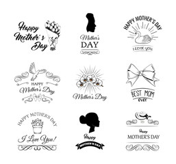 Mothers Day. Flower, swirls, womans silhouette, bow. Mother day set. Vector.