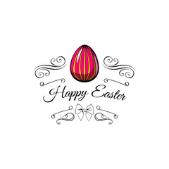 Colored eggs. Easter card. Bow, swirls, filigree elements. Painted eggs. Vector.