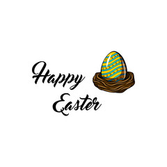 Easter egg. Nest. Greeting card. Painted color egg. Happy Easter text. Vector.