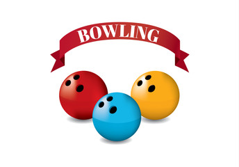 Red Ribbon Bowling yellow Red Blue on white background