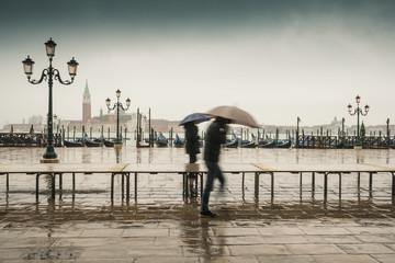 view to San Giorgio Maggiore Venice during aqua alta