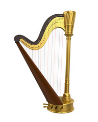 Harp Stringed Musical Instrument Isolated