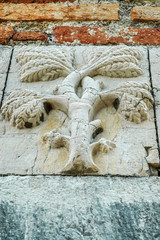 Fototapete - Relief of a tree on ancient wall