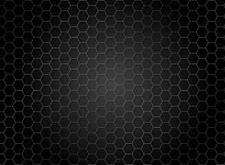 Abstract striped hexagon pattern on dark background. Metal texture.