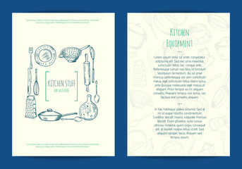Vector card, flyer or brochure template for kitchen