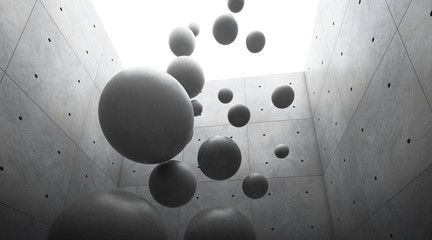 Abstract of architecture space with cement sphere ball are falling to the ground and light and shadow of the sun,3D render