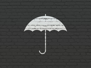 Safety concept: Painted white Umbrella icon on Black Brick wall background