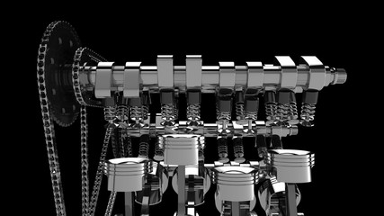 CG model of a working V8 engine. Pistons and other mechanical parts are in motion.