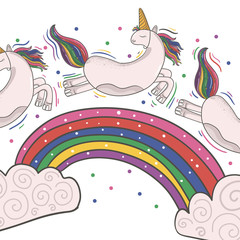 Cute magical unicorn and rainbow. Print for t-shirt or sticker. Romantic hand drawing illustration for children.