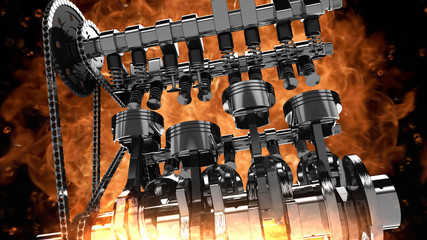 Low-angle shot of a working V8 engine with explosions and flames. Pistons, camshaft, valves and other mechanical parts are in motion.