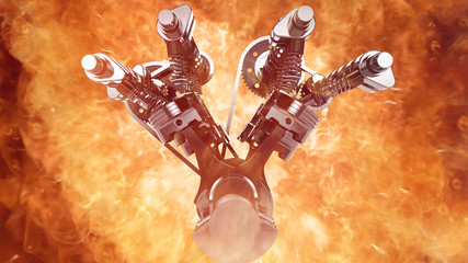 Working V8 engine with explosions and flames. Pistons, camshaft, valves and other mechanical parts in motion.