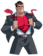 Illustration of businessman revealing his true identity of powerful superhero.