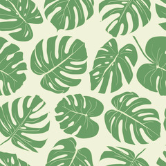 Seamless leaves pattern. Hand drawn illustration for fabric, wrapping, prints, cards, wedding design in vintage style