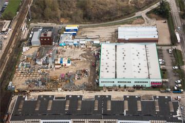 vue aérienne de la zône industrielle de Trappes dans les Yvelines à l'ouest de Paris
