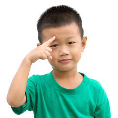 Asian child pointing eyebrow