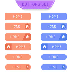 Home buttons set. Collection of web buttons