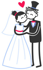 Vector wedding illustration of cute stick figures bridal couple standing and kissing isolated on white background, wedding invitation template