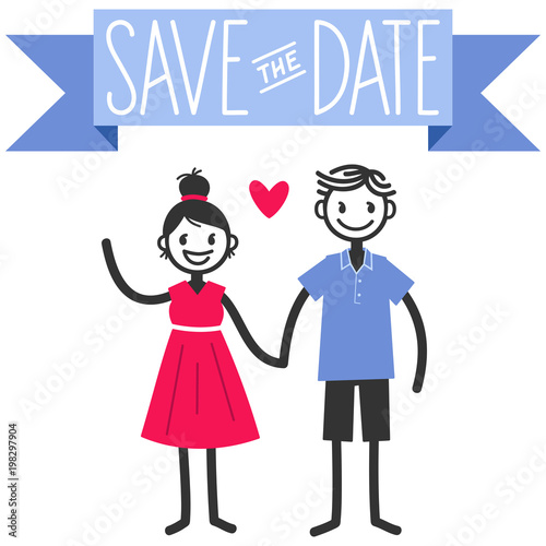 vector illustration of cute stick figures couple save the date wedding template isolated on white
