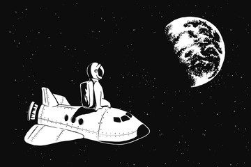 Astronaut sits on space shuttle and watches to Earth.Cosmic theme. Vector illustration