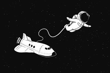 Astronaut flies in outer space from shuttle.Cosmic characters. Vector illustration