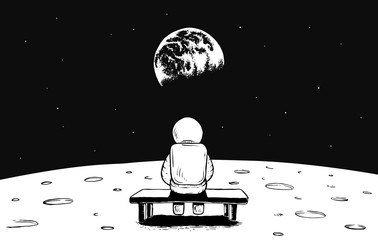 Astronaut sits on bench on Moon and watches to Earth.Prints design.Space vector illustration