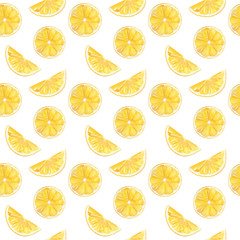 Watercolor hand painted seamless pattern with yellow lemon fruit slices. Can be used for printing on fabric, decoration, wallpaper.
