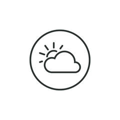 Black and white variable cloud icon in the round frame