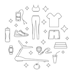 Running line isolated icons. Healthy lifestyle design concept.