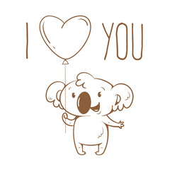 Valentine's card with cute cartoon  koala  on  white  background. Happy animal. Funny Lover. Red balloon. Children's illustration. Vector contour  image no fill.