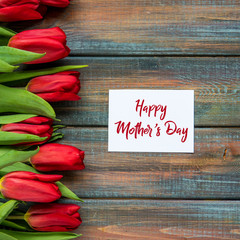 Happy Mother's Day card with red tulips