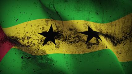 Sao Tome and Principe grunge flag waving loop. Santomean dirty flag blowing on wind.