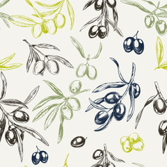 Olive branches, hand drawn retro style vector illustrations.