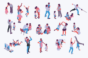 Husband and wife isometric people vector