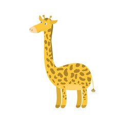 Cute bright cartoon orange with spots long neck smiling giraffe. Childish flat illustration of high giraffa for kids book design, stickers, educational and fun games, print, height chart