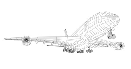 Passenger aircraft. 3d illustration