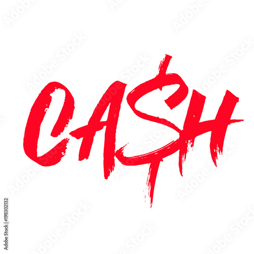 cash word sign with reflection red text on white background