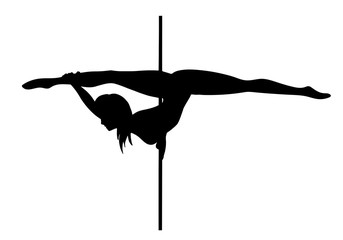 Vector silhouette of girl and pole on a white background. Pole dance illustration for fitness, striptease dancers, exotic dance. Vector illustration EPS10 for logotype, badge, icon, logo, banner, tag.