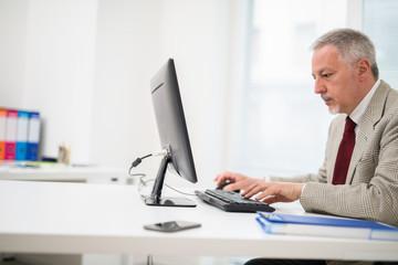 Businessman using his desktop computer