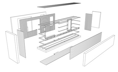 Architect 3d drawing of balcony