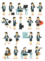 Set of businesswoman characters in different poses in flat style isolated on white background. Business woman in office situations with gestures and actions
