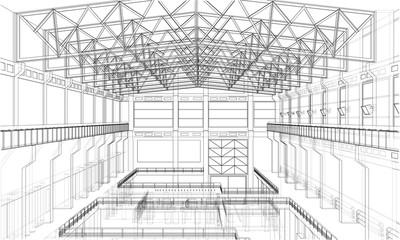 Warehouse sketch. 3d illustration