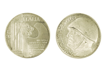 Two side of Silver Italian Mussolini lira Coin isolated on a white background.