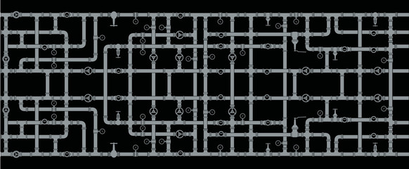 Background of intertwined water pipes. Elements of sanitary ware. Seamless. Vector drawing