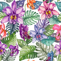 Beautiful bright orchid flowers and monstera leaves on white background. Seamless tropical floral pattern.  Watercolor painting. Hand drawn illustration.