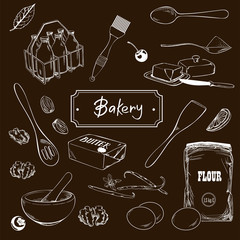 Hand drawn sketch with bread, pastry, sweet. Bakery set vector illustration.