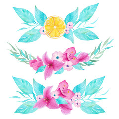 Watercolor hand painted floral decoration with lemon and bouganvillea flower. Can use it for printing and decoration.